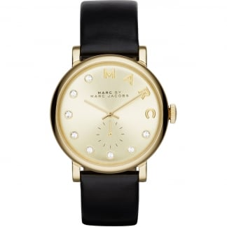 Ladies Black Strap Gold and Stone Set Baker Watch