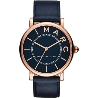 Ladies Rose Gold Classic Navy Strap Watch