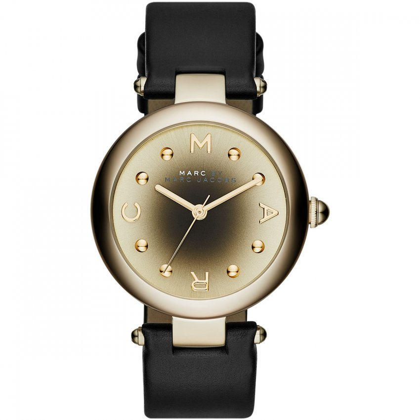 Marc Jacobs Ladies Dotty Gold Plated Black Leather Watch MJ1409