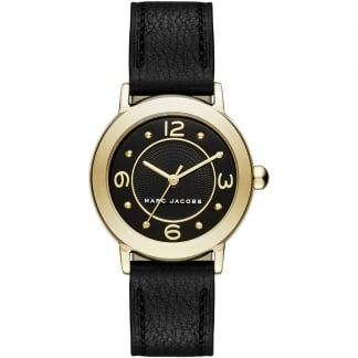 Ladies Gold Mini Riley Black Leather Quartz Watch MJ1475