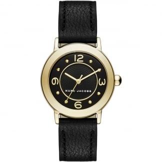Ladies Gold Mini Riley Black Leather Quartz Watch MJ1475