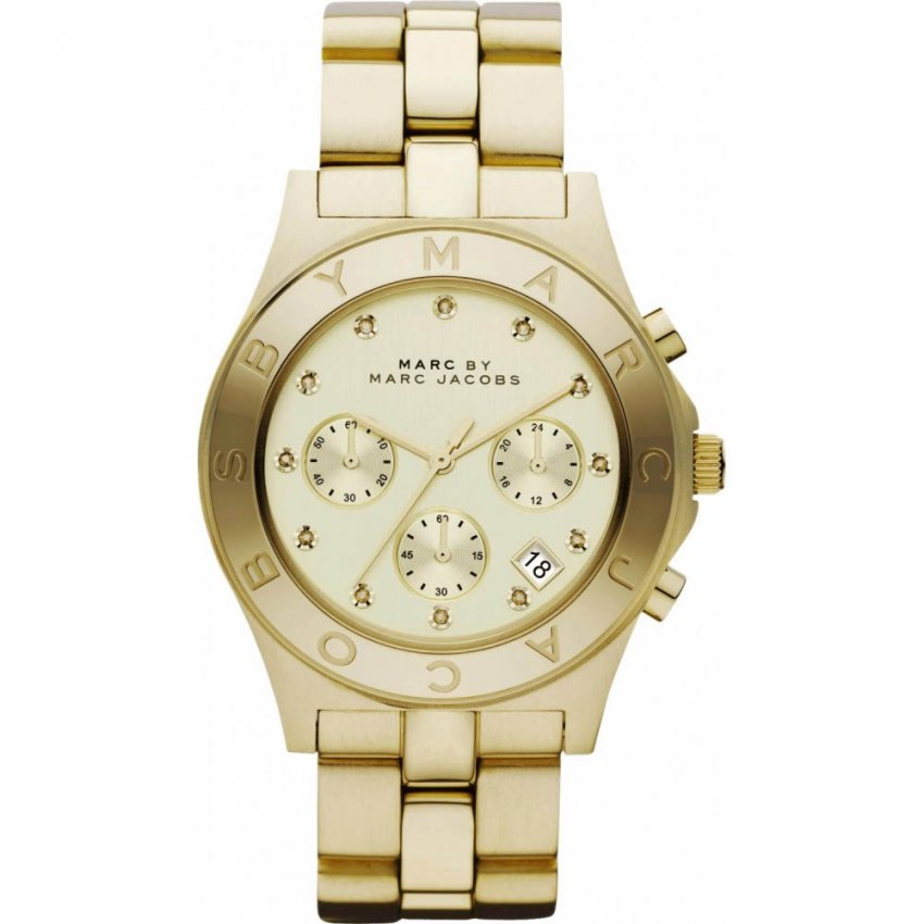 Marc Jacobs Ladies Gold Plated Blade Chronograph Watch MBM3101