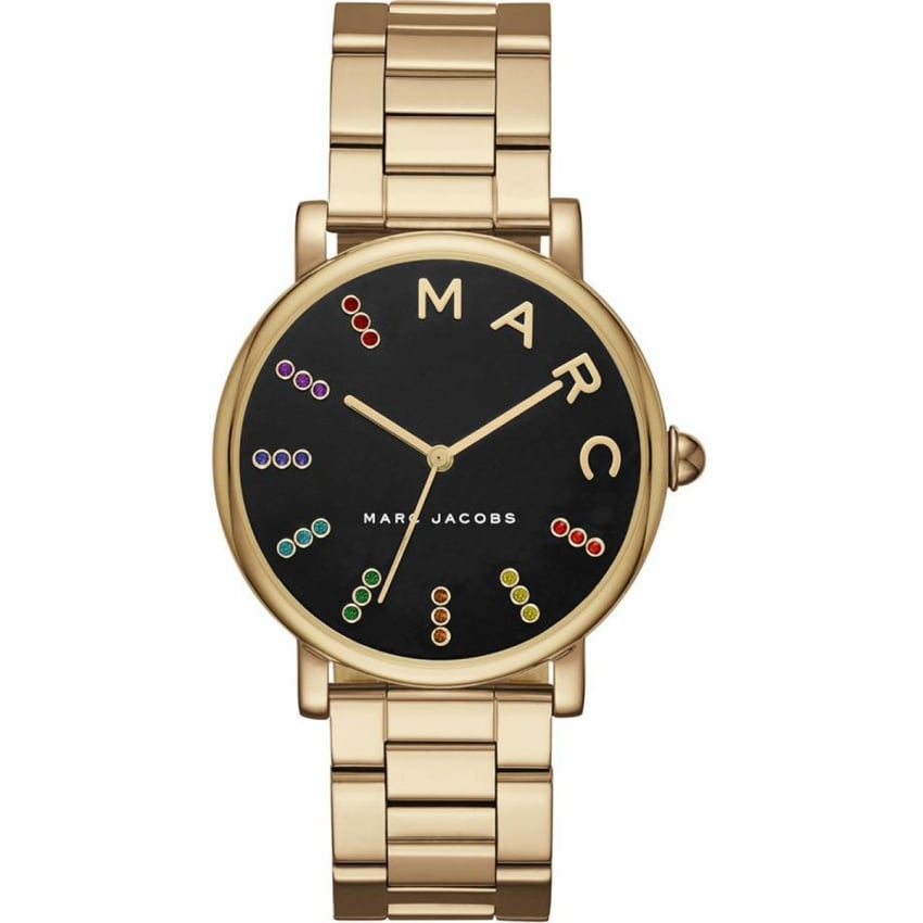 Ladies Roxy Multicoloured Glitz Gold Tone Watch MJ3567