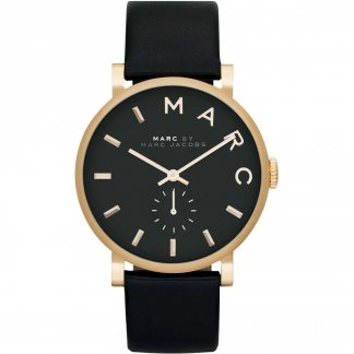 Ladies Gold Tone Designer Black Strap Baker Watch
