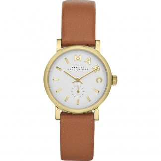 Ladies Gold Tone Tan Leather Strap Mini Baker Watch MBM1317
