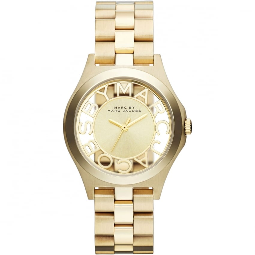 Marc Jacobs Ladies Gold Transparent Dial Henry Watch MBM3292
