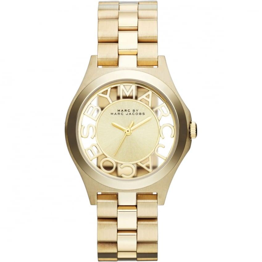 Marc Jacobs Ladies Gold Transparent Dial Henry Watch MBM3292