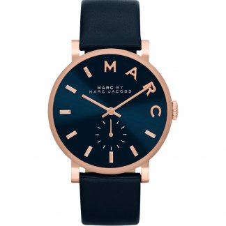 Ladies Navy Leather Baker Watch with Rose Gold Detail