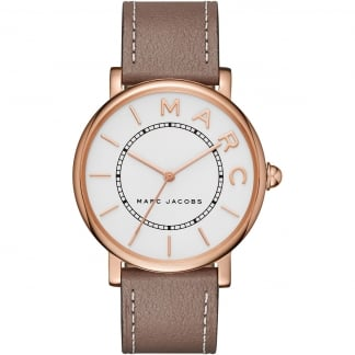 Ladies Rose Gold Classic Cement Strap Watch
