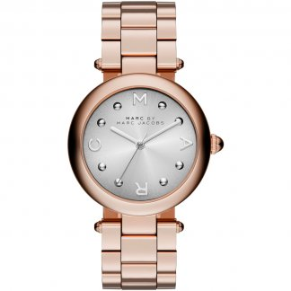Ladies Rose Gold Dotty Watch With Silver Dial