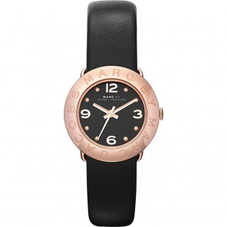 Ladies Rose Gold Mini Amy Watch with Black Strap