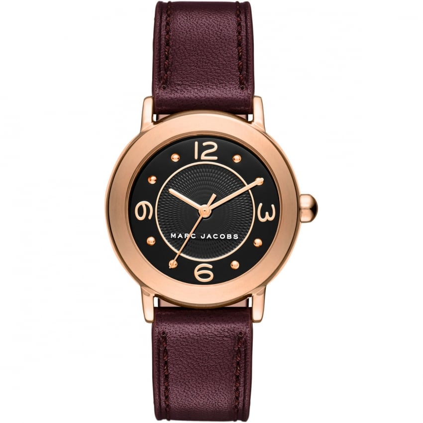 Marc Jacobs Ladies Rose Gold Mini Riley Bugundy Strap