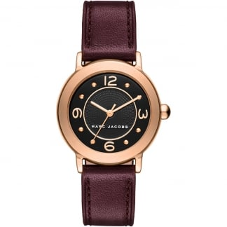 Ladies Rose Gold Mini Riley Bugundy Strap Watch MJ1474