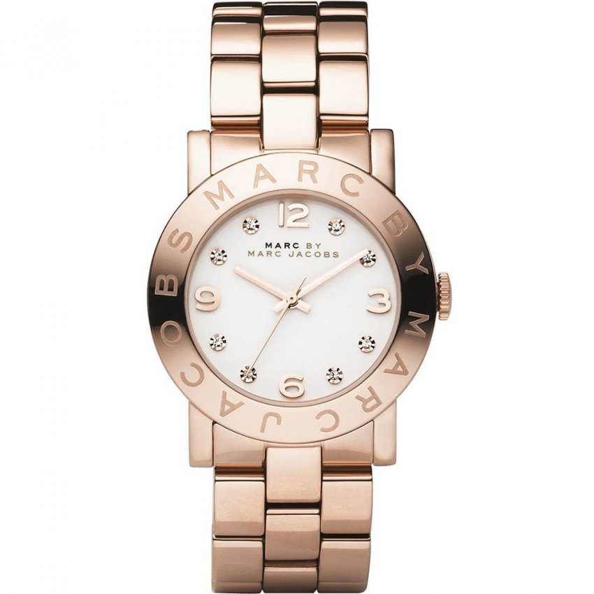Marc Jacobs Ladies Rose Gold Tone Amy Watch MBM3077