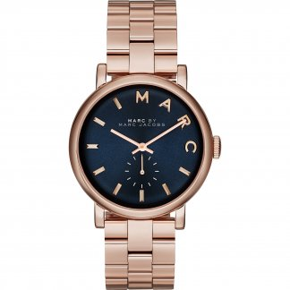 Ladies Rose Gold Tone Blue Dial Baker Watch