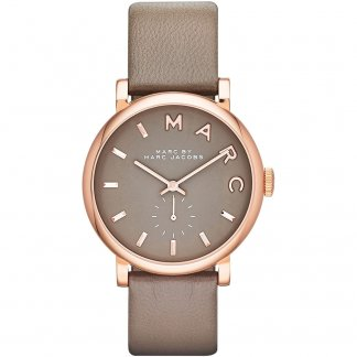 Ladies Rose Gold Tone Brown Leather Strap Baker Watch MBM1266