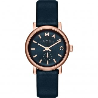 Ladies Rose Gold Tone Navy Strap Mini Baker Watch