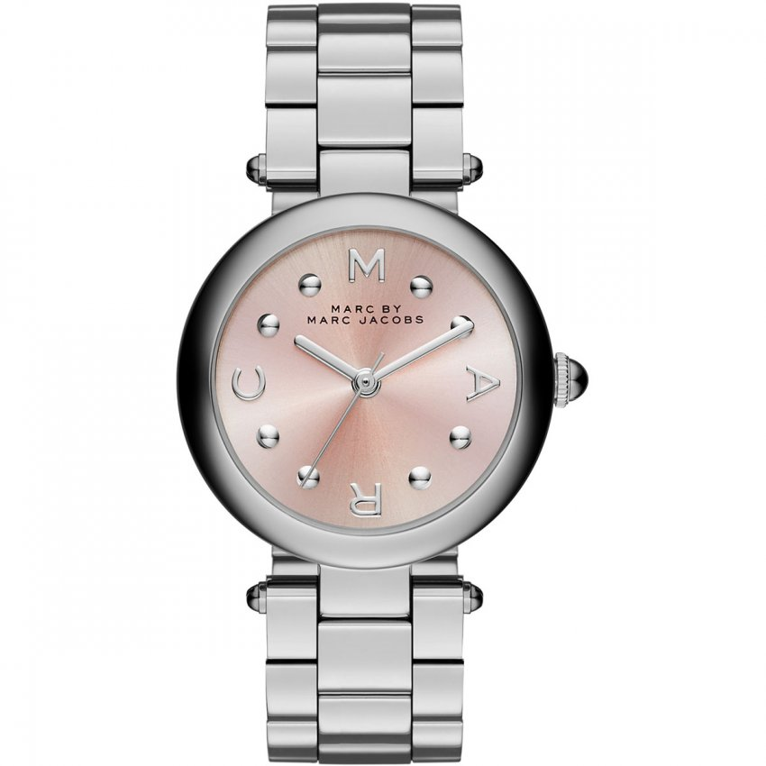 Marc Jacobs Ladies Silver Dotty Watch With Pink Dial MJ3447