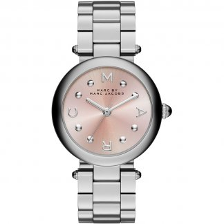 Ladies Silver Dotty Watch With Pink Dial