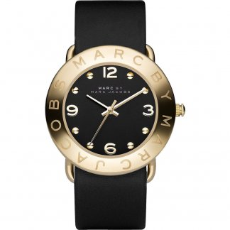 Ladies Stunning Gold Tone Black Strap Amy Watch