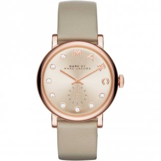 Ladies Taupe Leather Rose Gold Baker Watch MBM1400