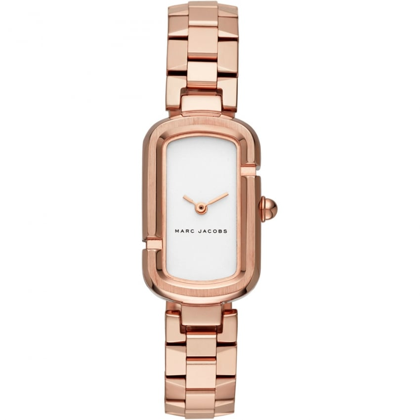 Marc Jacobs Ladies The Jacobs Rose Gold Rectangular Watch MJ3505