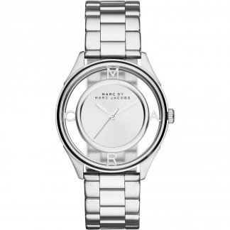 Ladies Thether Silver Tone Skeleton Dial Watch