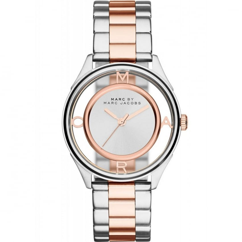Ladies Two Tone Transparent Dial Tether Watch MBM3436