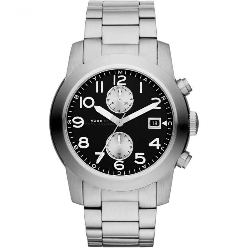 Marc Jacobs Men's All Steel Black Dial Larry Chronograph Watch MBM5050