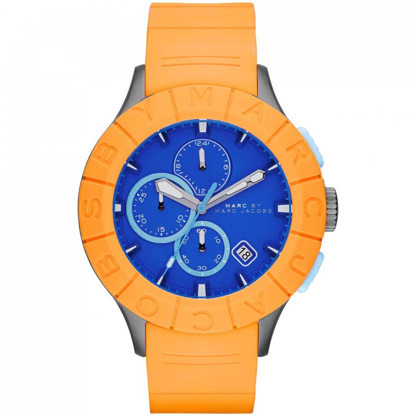 Men's Buzz Track Orange & Blue Chronograph Watch MBM5545