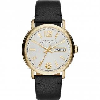 Men's Fergus Gold Tone Black Strap Watch MBM5081