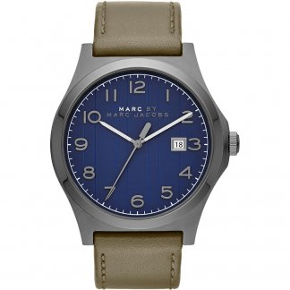Men's Navy Blue Dial Leather Strap Jimmy Designer Watch MBM5046