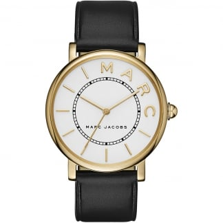 Women's Gold Classic Black Strap Watch