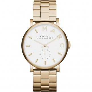 Women's Gold Tone Steel White Dial Baker Watch