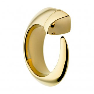 Gold Vermeil & Ivory Enamel Tusk Ring Size M SLS258M