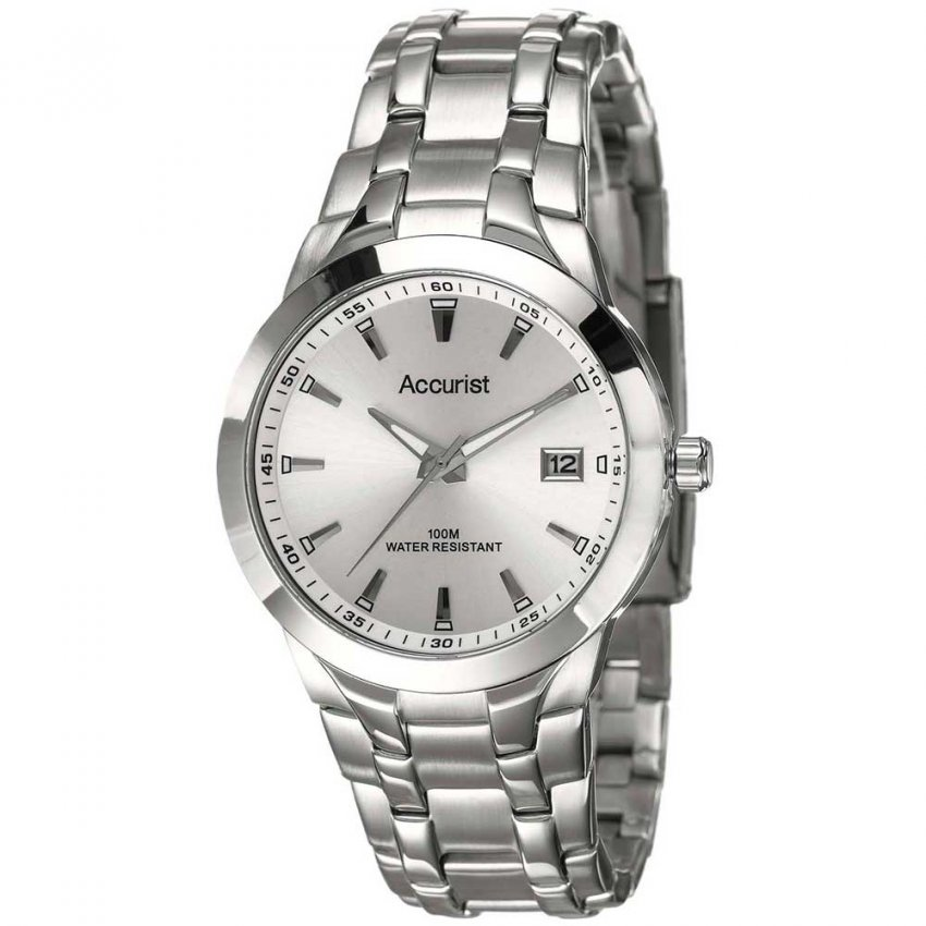 Accurist Men's Stainless Steel Silver Dial 100M Watch MB860S