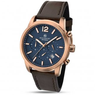 Men's Brown Leather Chronograph Watch With Blue Dial