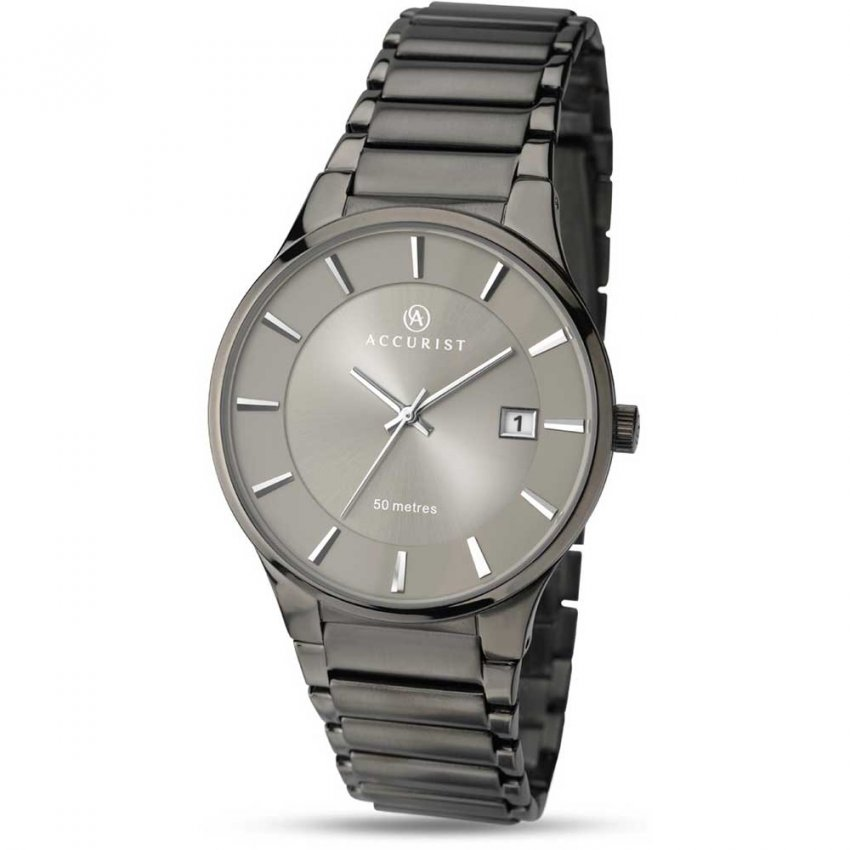 Accurist Men's Sleek Gunmetal Bracelet Watch 7009