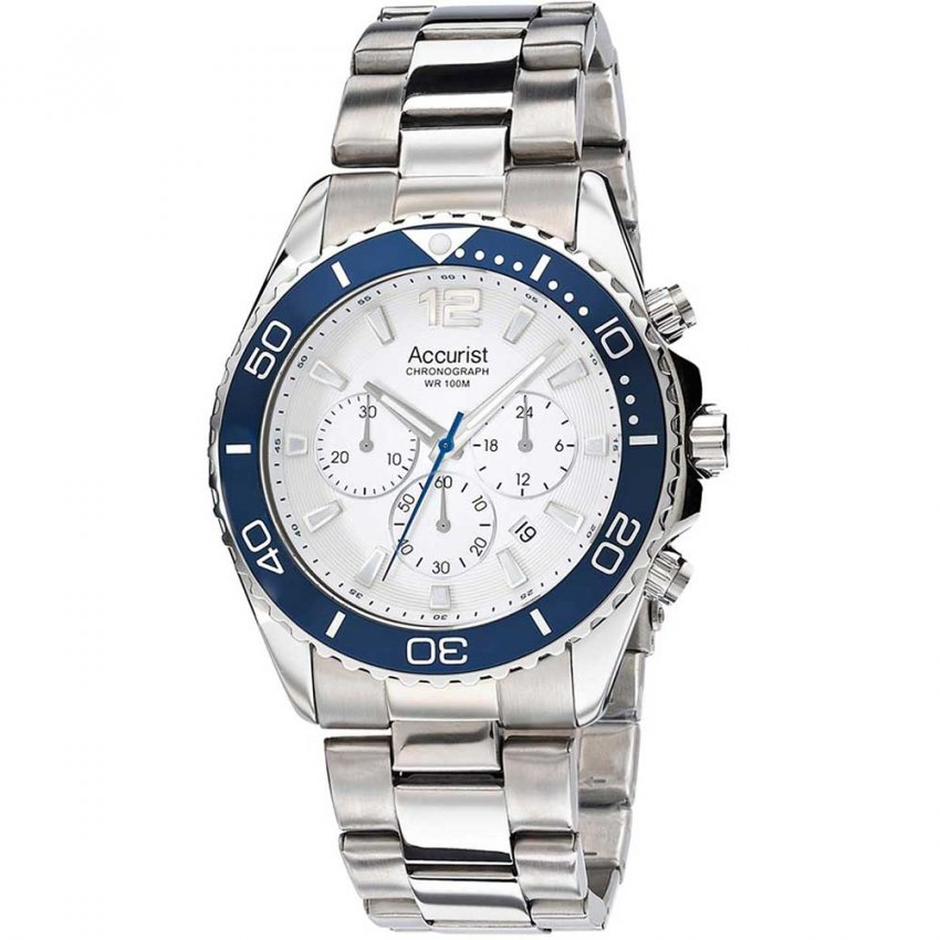 Accurist Men's 100M Silver Tone Sports Chronograph Watch MB946NW