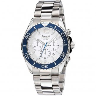 Men's 100M Silver Tone Sports Chronograph Watch