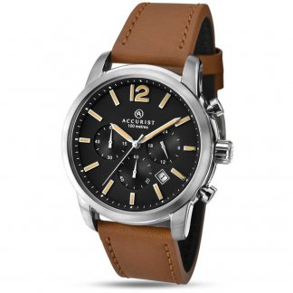 Men's Tan Leather Chronograph Watch