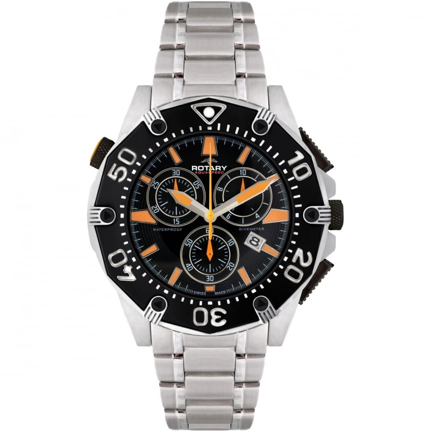 Rotary Men's Aquaspeed Pacific Steel Chronograph Watch AGB90036/C/04
