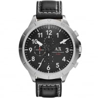 Armani Exchange Men's Black Leather Oversized Chronograph Watch AX1754
