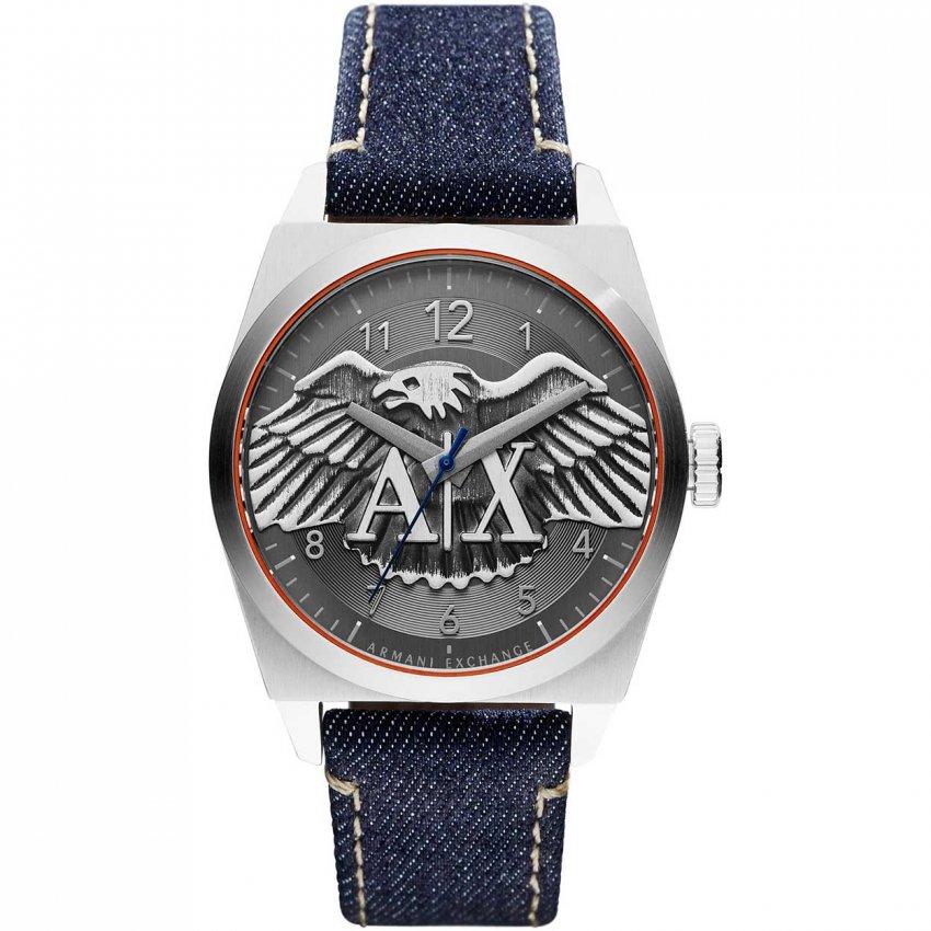 Armani Exchange Men's Blue Denim Eagle Motif Dial Watch AX2307