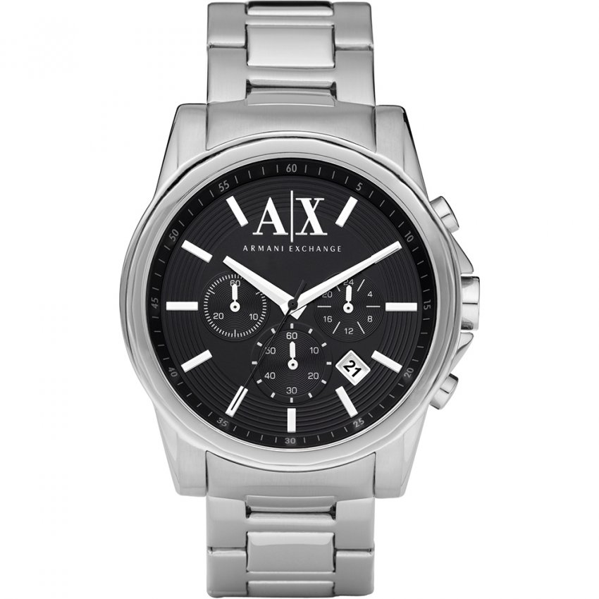 Armani Exchange Men's Black Chronograph Dial Watch AX2084