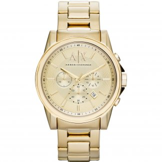 Men's Gold Tone Chronograph Watch AX2099