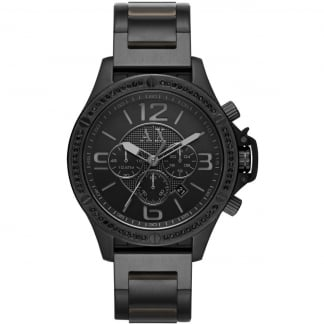 Men's Stone Set Black Steel Chronograph Watch