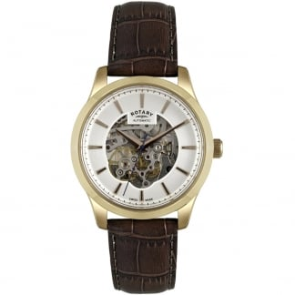 Men's Automatic Gold Plated Skeleton Strap Watch