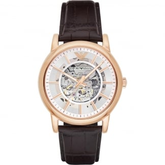 Men's Automatic Rose Gold Skeleton Dial Watch