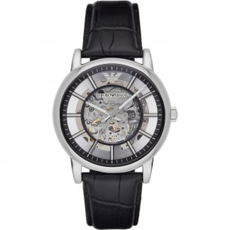 Men's Automatic Skeleton Dial Strap Watch